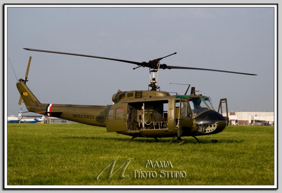 Cincinnati Wedding Photographers Maxim Photo Studio photographed this vintage Huey helicopter