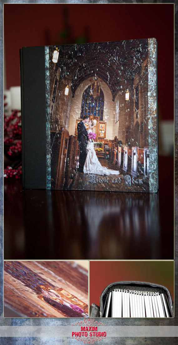 cincinnati custom wedding album by maxim photo studio