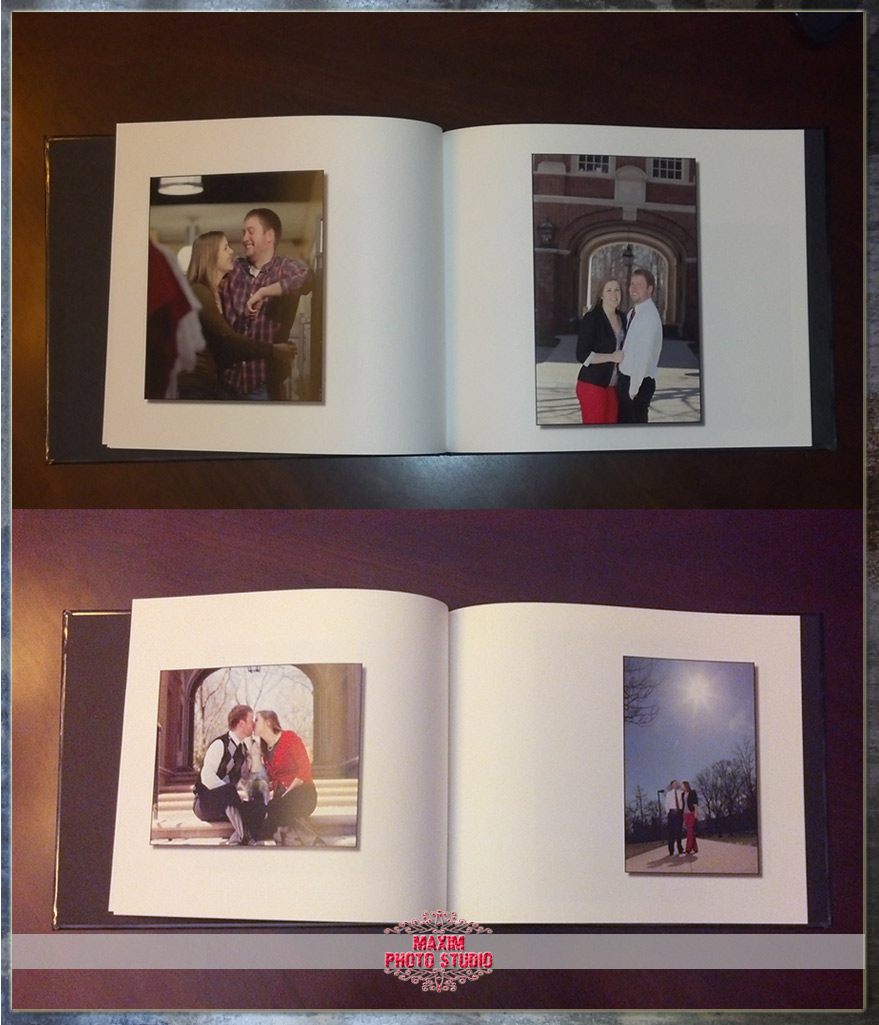 Maxim Photo Studio created a custom engagement signature book.